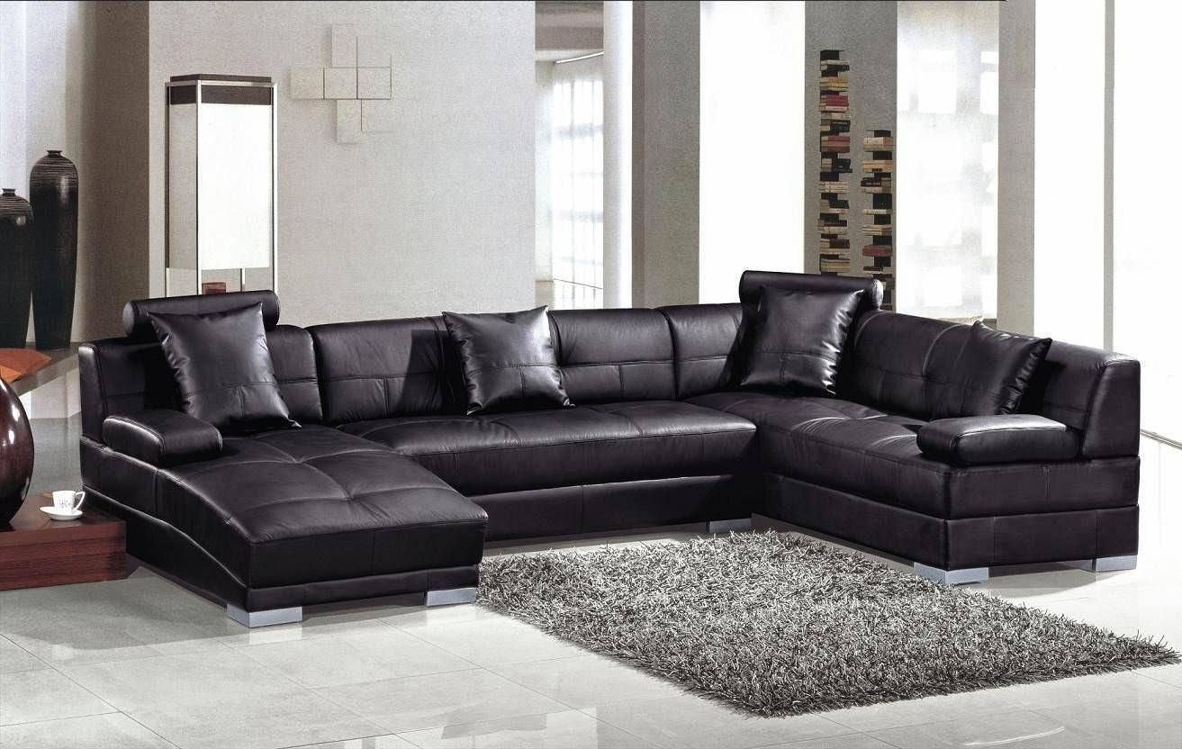 Large Black Leather Sectional Couch With Curved Chaise Lounge And With Regard To Black Leather Chaise Sofas (View 6 of 15)