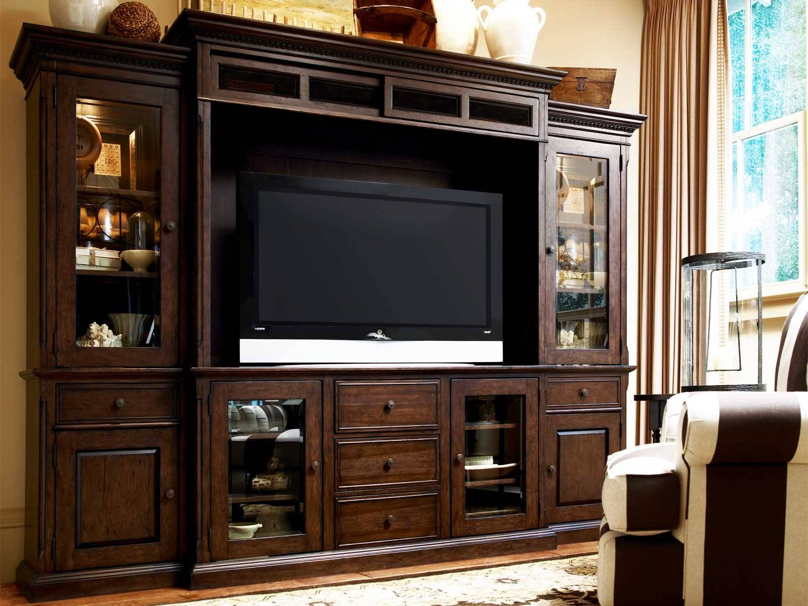 Large Brown Lacquered Mahogany Wood Media Cabinet With Lighted For Wooden Tv Stands With Glass Doors (View 2 of 15)