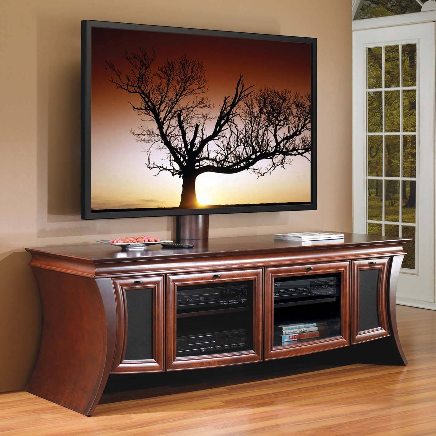 Large Brown Varnished Mahogany Wood Wide Screen Tv Stand With Inside Corner Tv Cabinets For Flat Screen (View 9 of 15)