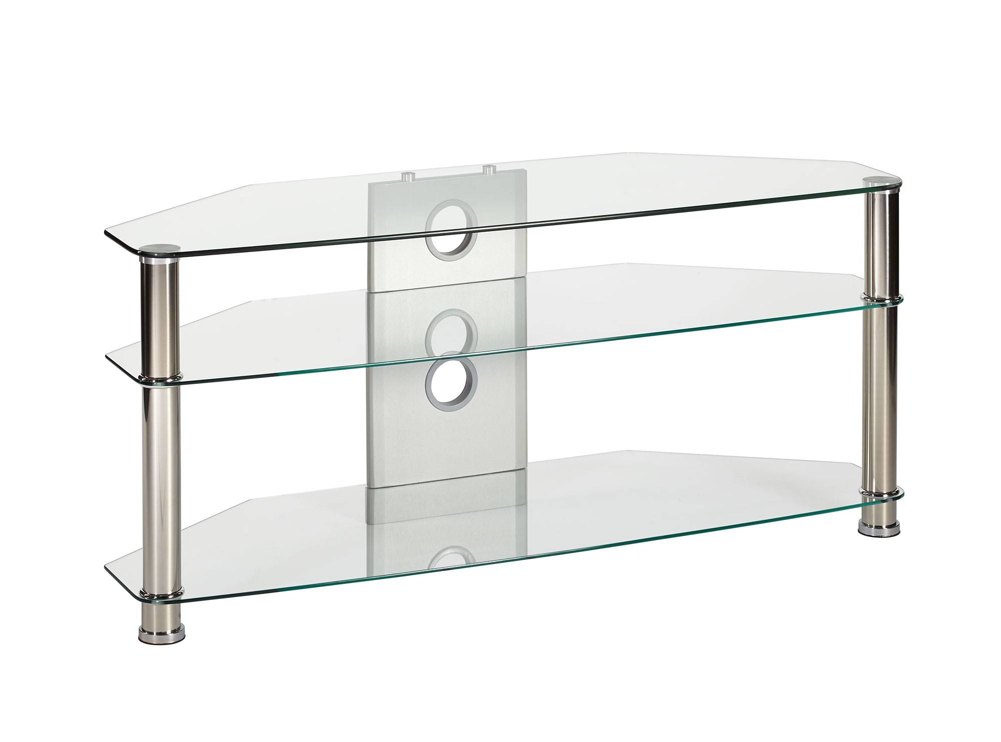 Large Clear Glass Corner Tv Stand Up To 55 Inch Tv | Mmt-Cl1150 intended for Clear Glass Tv Stand (Image 8 of 15)