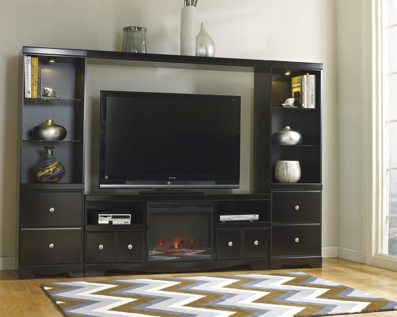 Large Entertainment Unit With Tv Stand W/ Fireplace Insert, Bridge for Tv Entertainment Unit (Image 2 of 15)