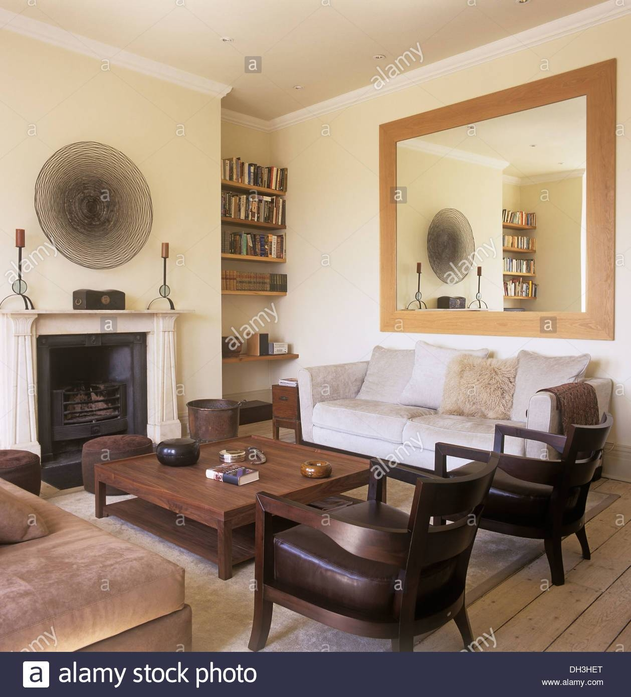 Large Mirror Above Sofa In Townhouse Living Room With Wooden with regard to Mirror Above Sofas (Image 7 of 15)