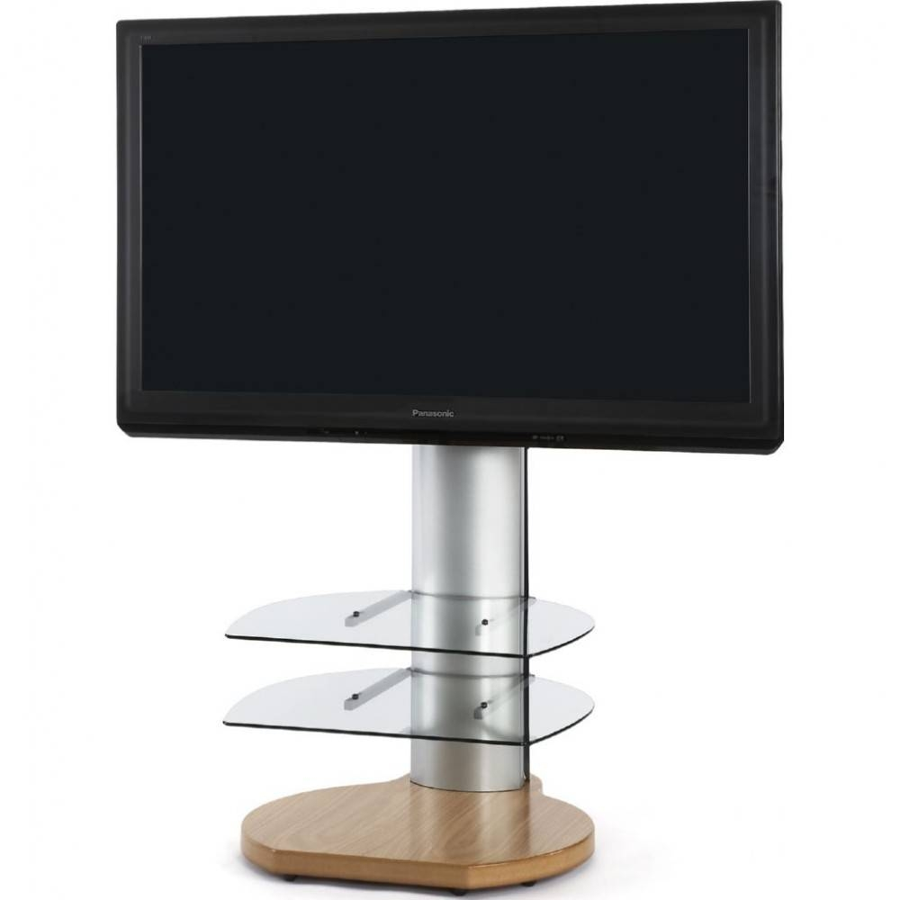 Large Round Dark Wood Oak Tv Stand Clear Glass Shelves Throughout Silver Tv Stands (View 5 of 15)