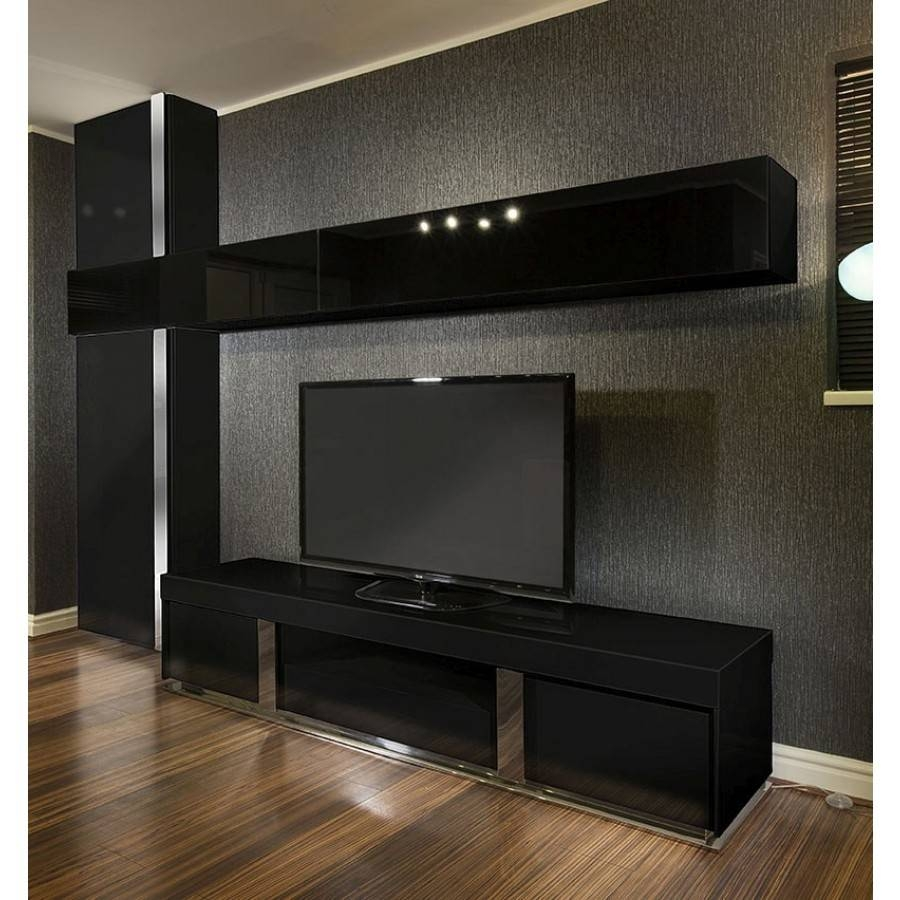 Large Tv Stand + Wall Mounted Storage Cabinet Black Glass Black with regard to Large Tv Cabinets (Image 6 of 15)