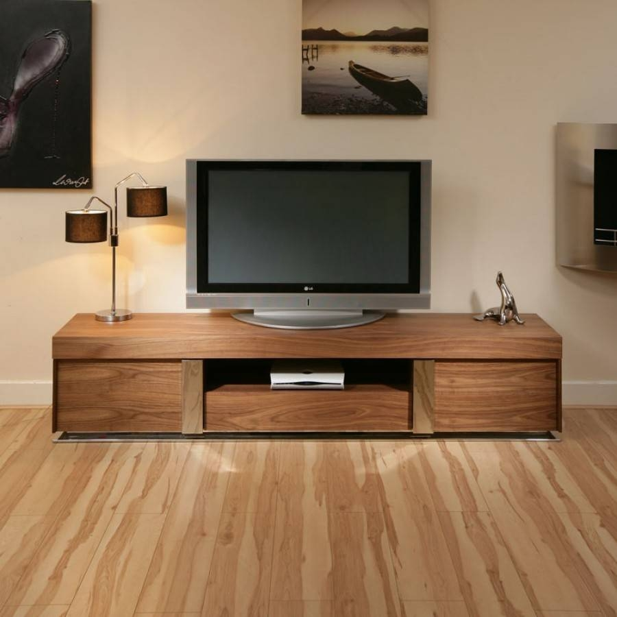 Large Tv Television Cabinet Entertainment Unit Center Walnut Wood inside Walnut Tv Cabinets With Doors (Image 6 of 15)