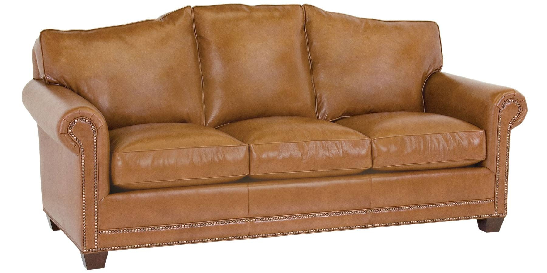 Leather Camel Back Sofa With Nailhead Trim | Club Furniture with regard to Camelback Leather Sofas (Image 9 of 15)