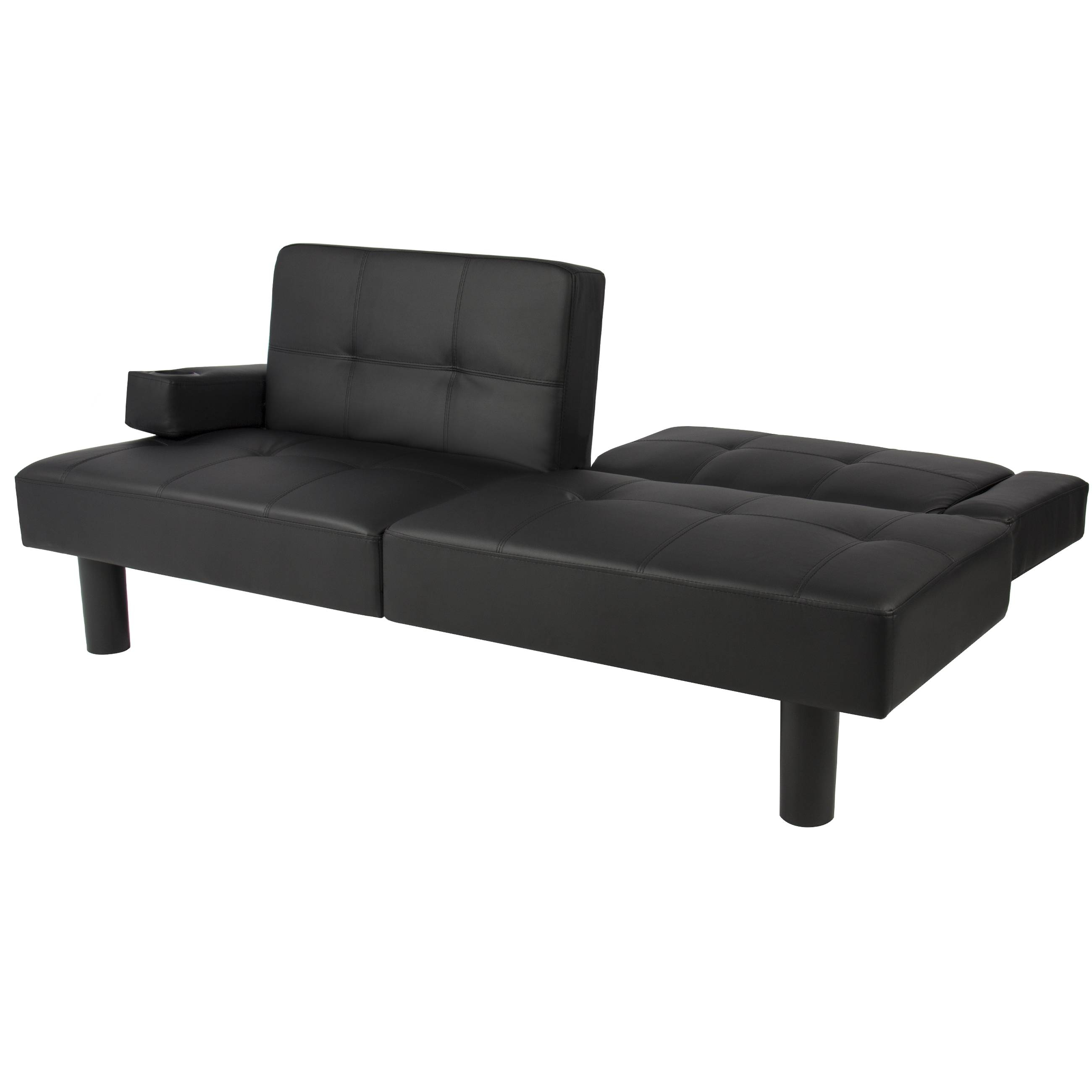 Leather Faux Fold Down Futon Sofa Bed Couch Sleeper Furniture pertaining to Small Black Futon Sofa Beds (Image 9 of 15)