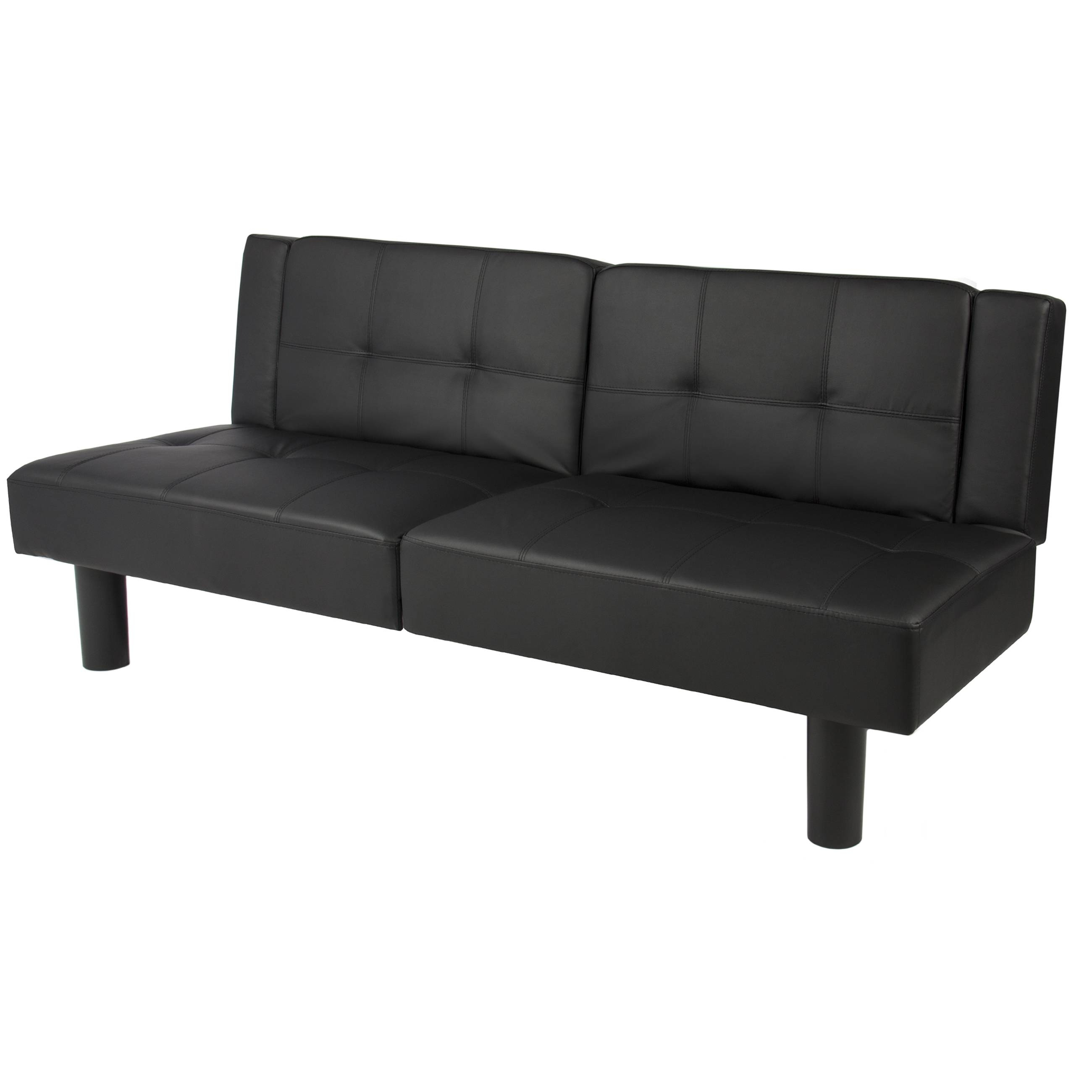 Leather Faux Fold Down Futon Sofa Bed Couch Sleeper Furniture regarding Convertible Futon Sofa Beds (Image 12 of 15)