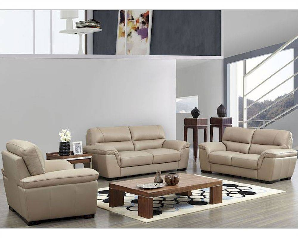 Leather Sofa Set In Beige Color Esf8052Set throughout Beige Leather Couches (Image 8 of 15)