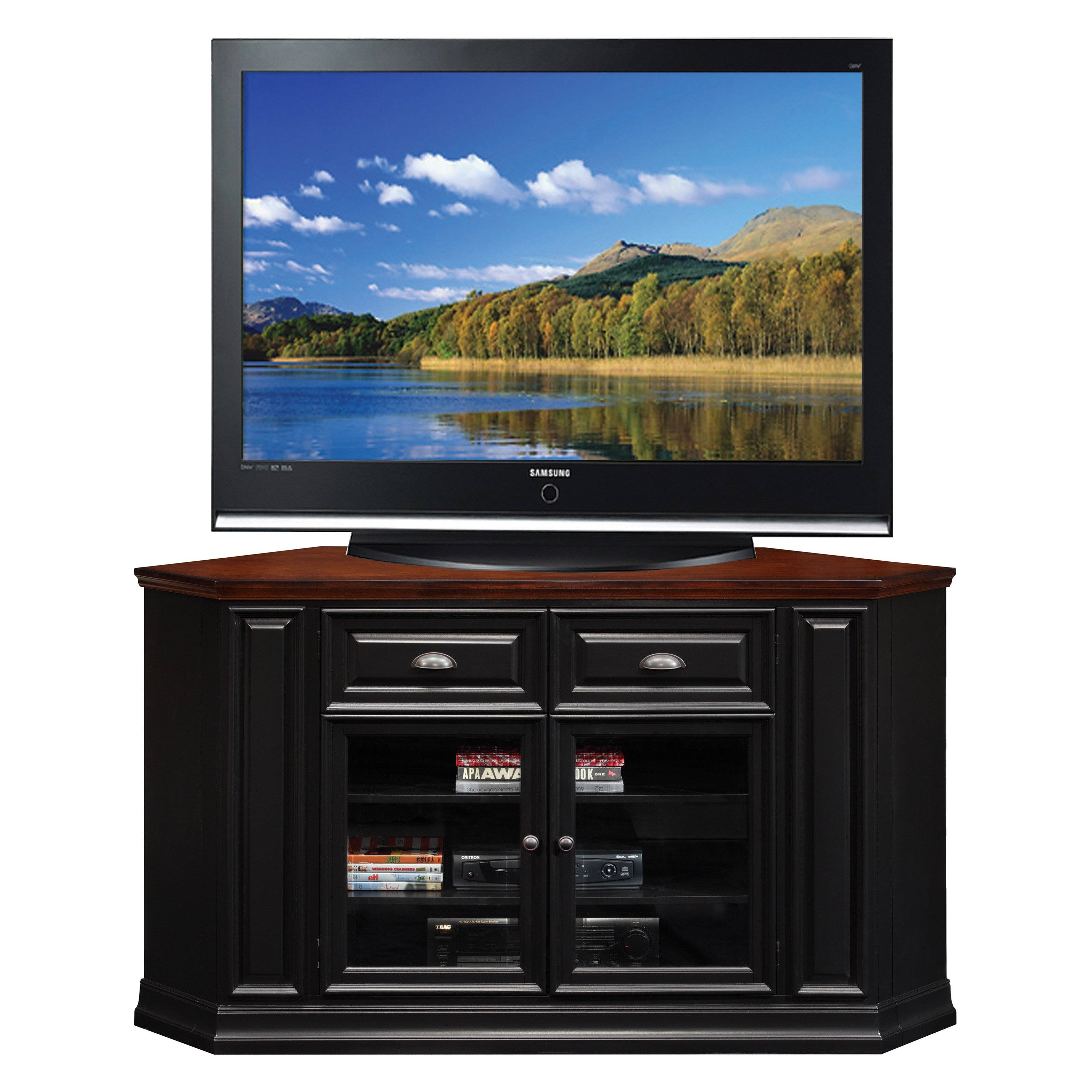 Leick 46 In. Corner Tv Stand - Black | Hayneedle with regard to Black Corner Tv Cabinets (Image 8 of 15)