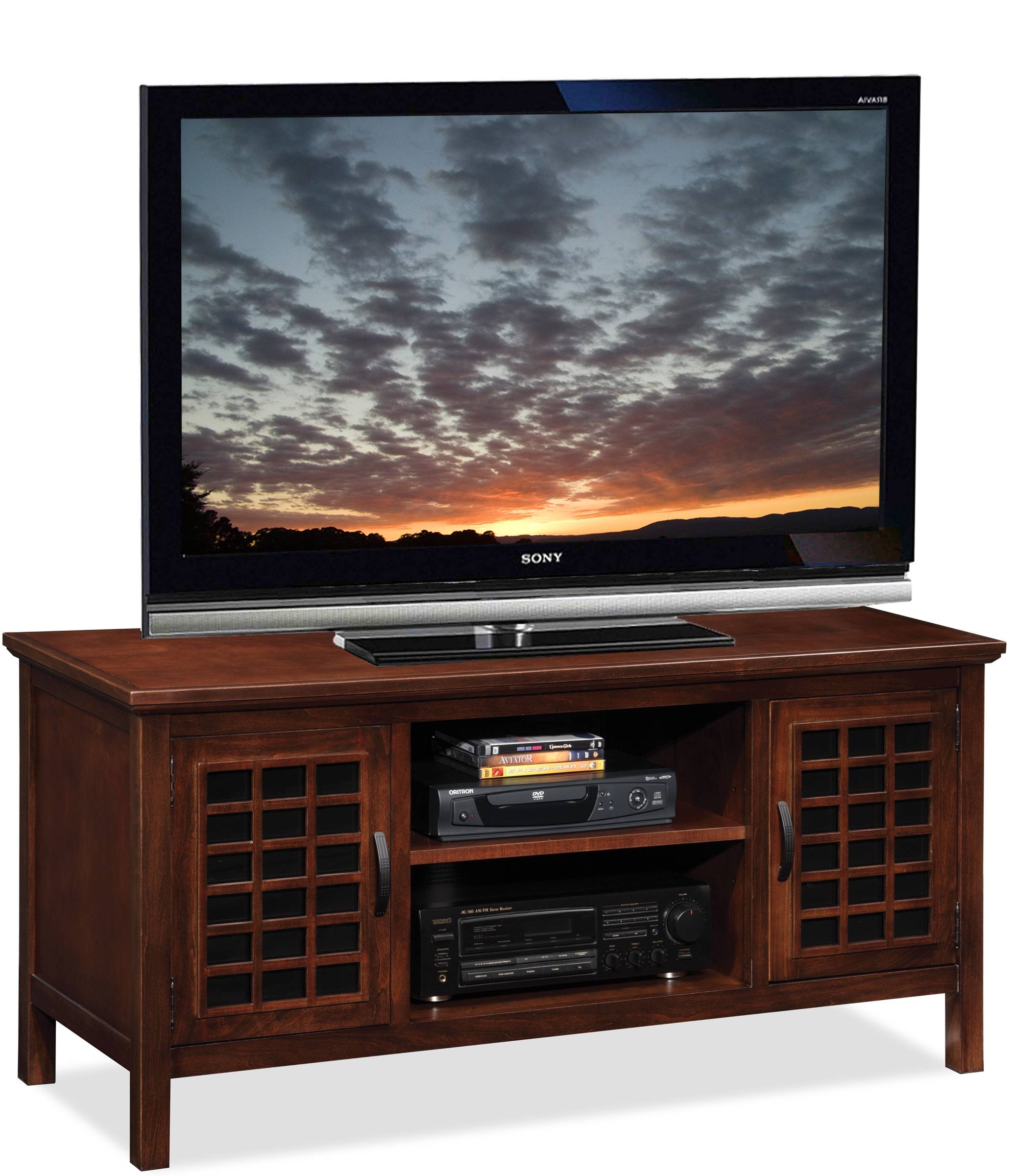 Leick Chocolate Cherry Grid Black Glass 50In Tv Stand 81170 in Cherry Tv Stands (Image 11 of 15)