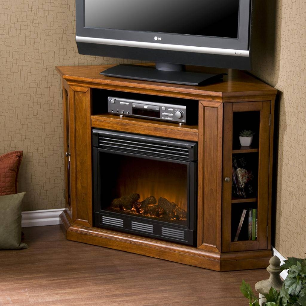 Light Brown Lacquered Oak Wood Corner Tv Cabinet With Glass Doors regarding Tv Stands for Corners (Image 9 of 15)
