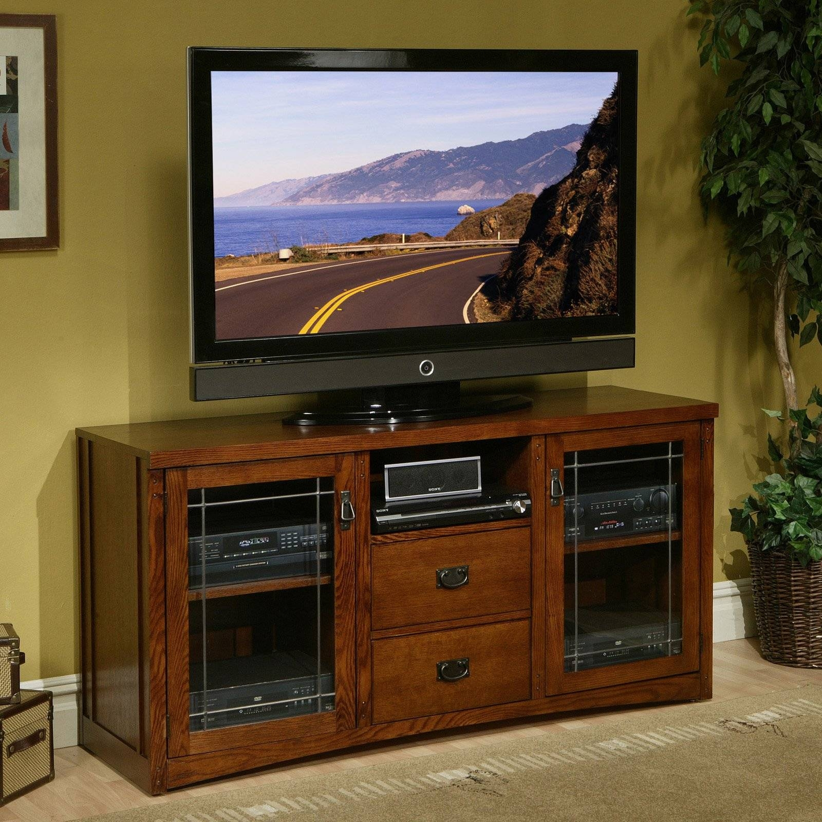 Light Brown Varnished Oak Wood Media Stand With Storage Shelf And throughout Light Oak Tv Stands Flat Screen (Image 3 of 15)