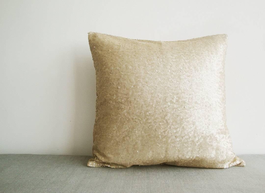 Light Gold Sequin Pillow Cover Matt Beige Sequin Pillow intended for Gold Sofa Pillows (Image 8 of 15)