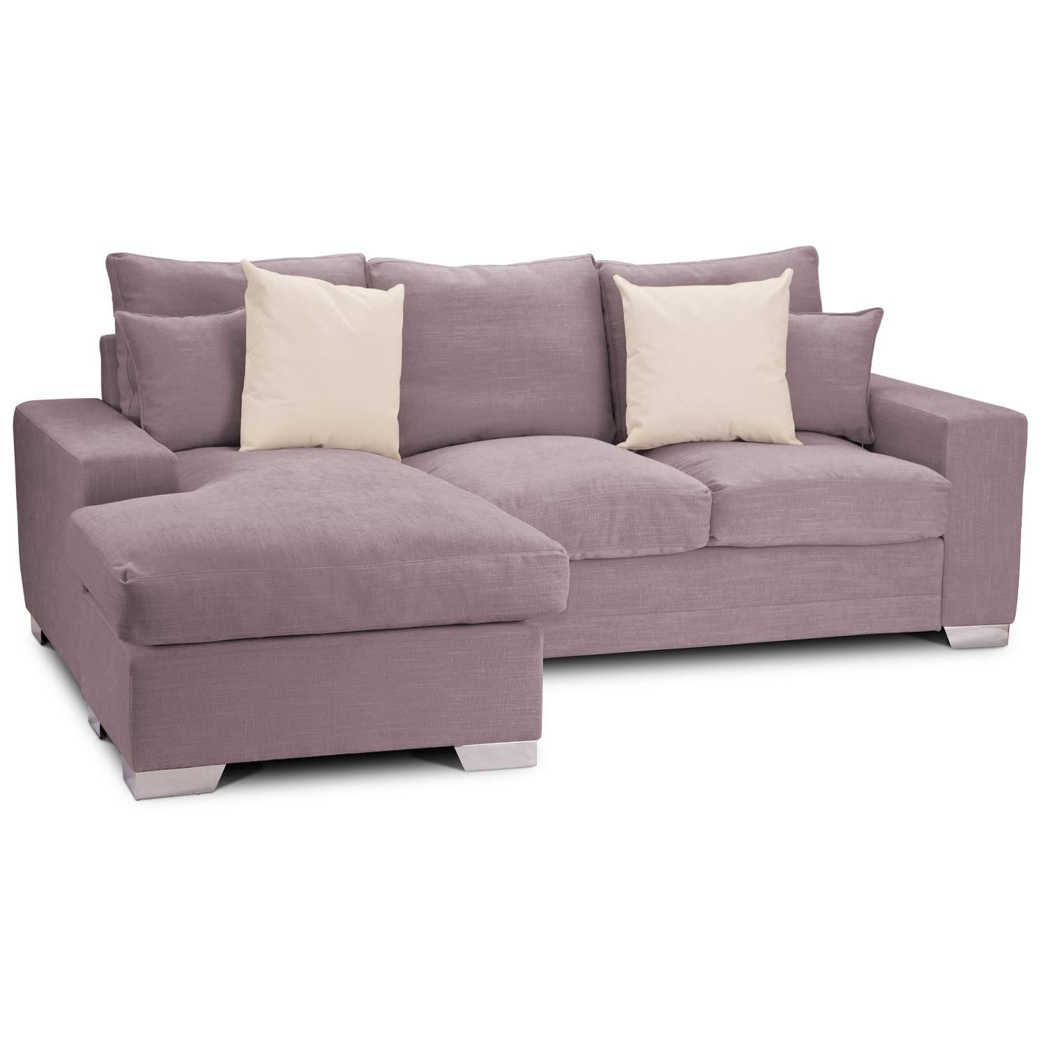 Light Gray Sectional Couch With Wide Chaise And Short Metal Legs with regard to Short Sectional Sofas (Image 8 of 15)