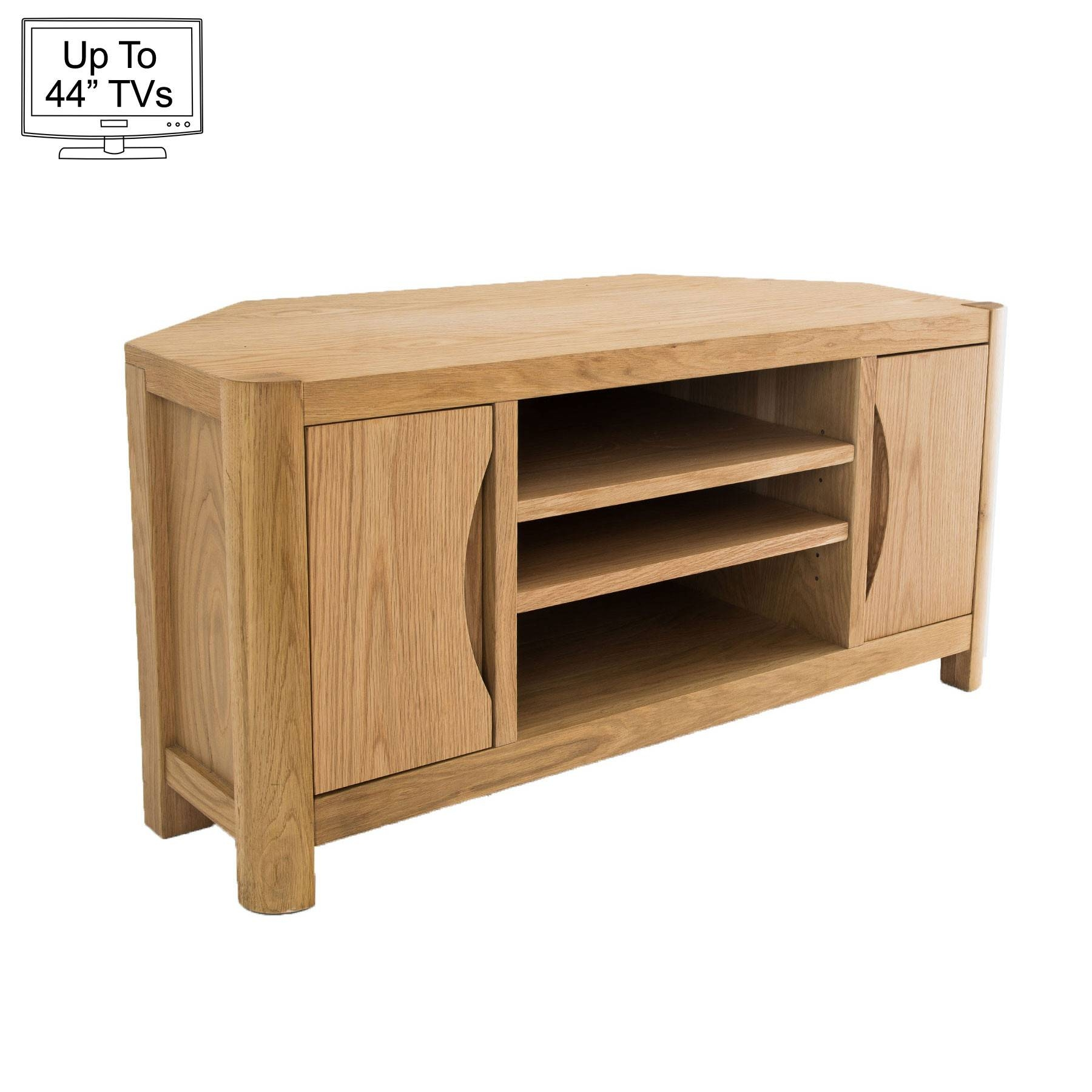 "Light Oak Corner Tv Stand For Up To 44"" Tvs Throughout Light Oak Corner Tv Cabinets (View 5 of 15)"