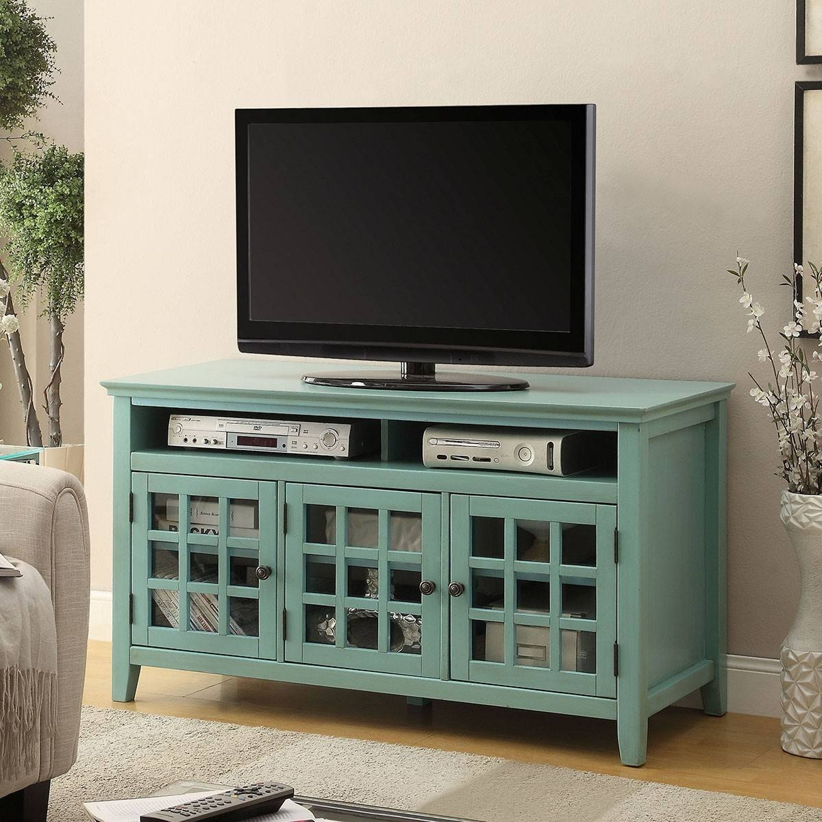 """Linon 650202trq01u Largo 48"""" Antique Turquoise Media Cabinet Tv Throughout Glass Fronted Tv Cabinet (View 2 of 15)"""