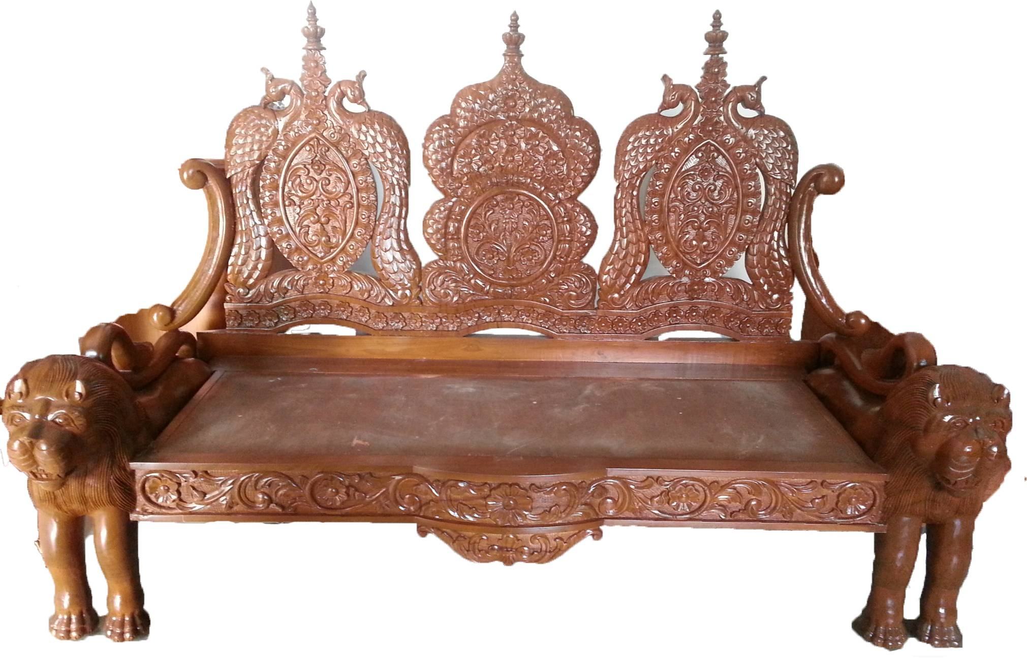 Lion Carving Wooden Sofa | Indiabizclub Intended For Carved Wood Sofas (View 7 of 15)