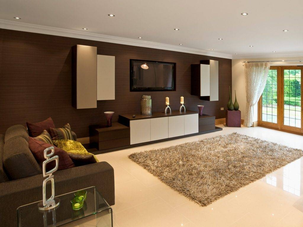 Living ~ 1 Bespoke Built In Fitted Tv Units Cabinets Dark Wood With Bespoke Tv Cabinets (View 9 of 15)