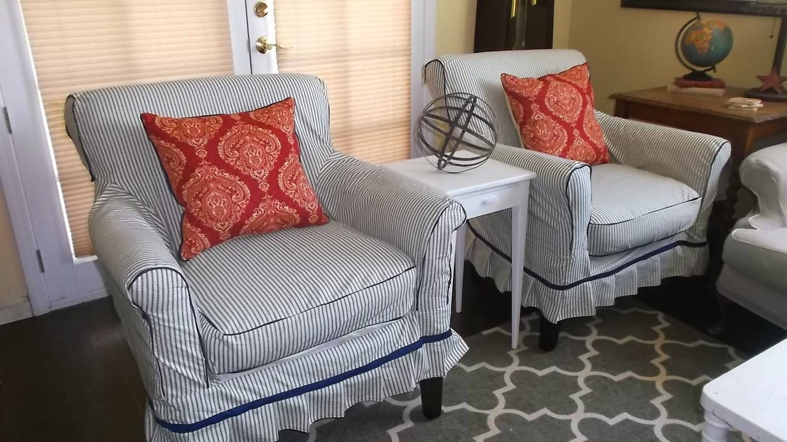 Living A Cottage Life: Ticking-Stripe Slip Covers in Striped Sofa Slipcovers (Image 4 of 15)