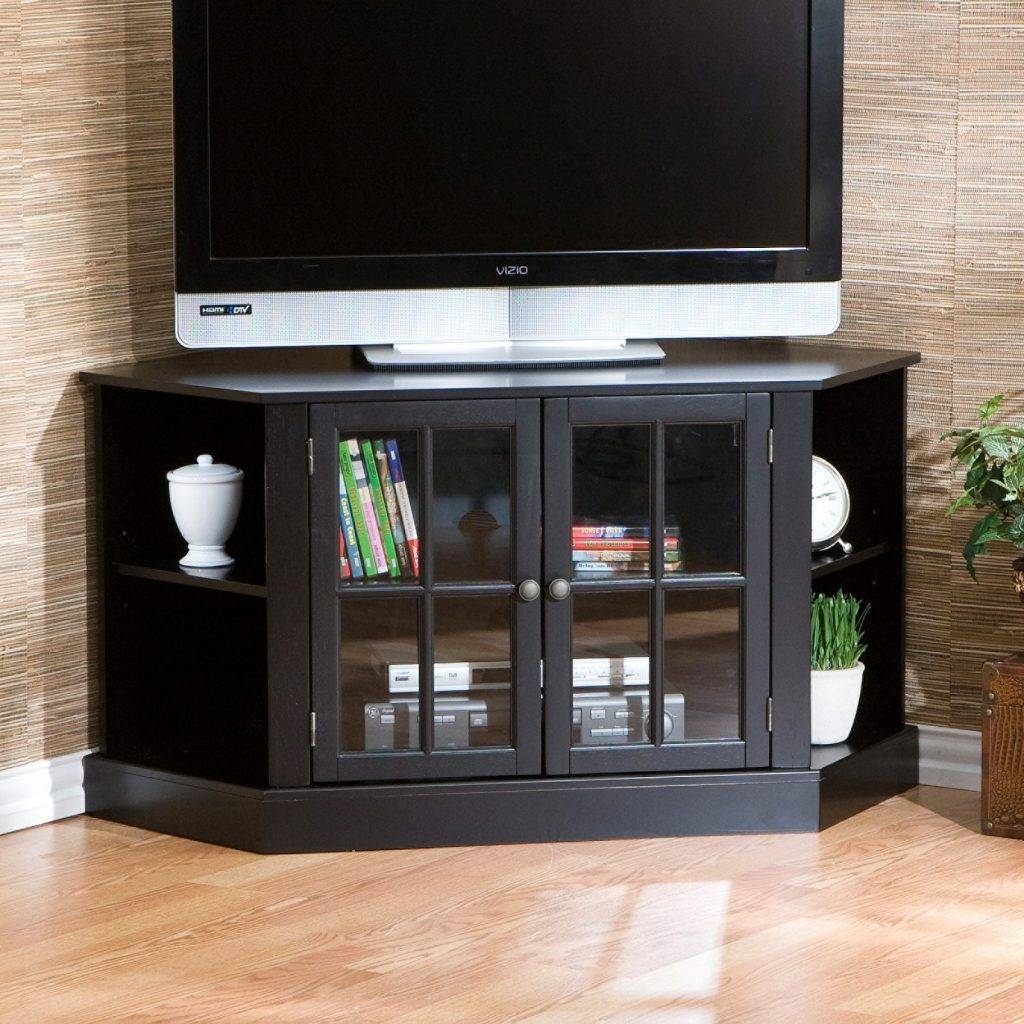 Living ~ Black Polished Oak Wood Corner Tv Cabinet Stand With inside Wooden Tv Cabinets With Glass Doors (Image 9 of 15)