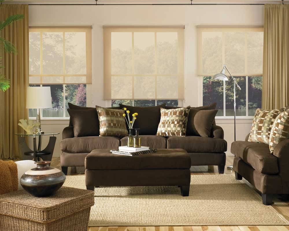 Living Room Designs With Brown Furniture Leather Brown Couch Set with regard to Brown Sofas Decorating (Image 15 of 15)