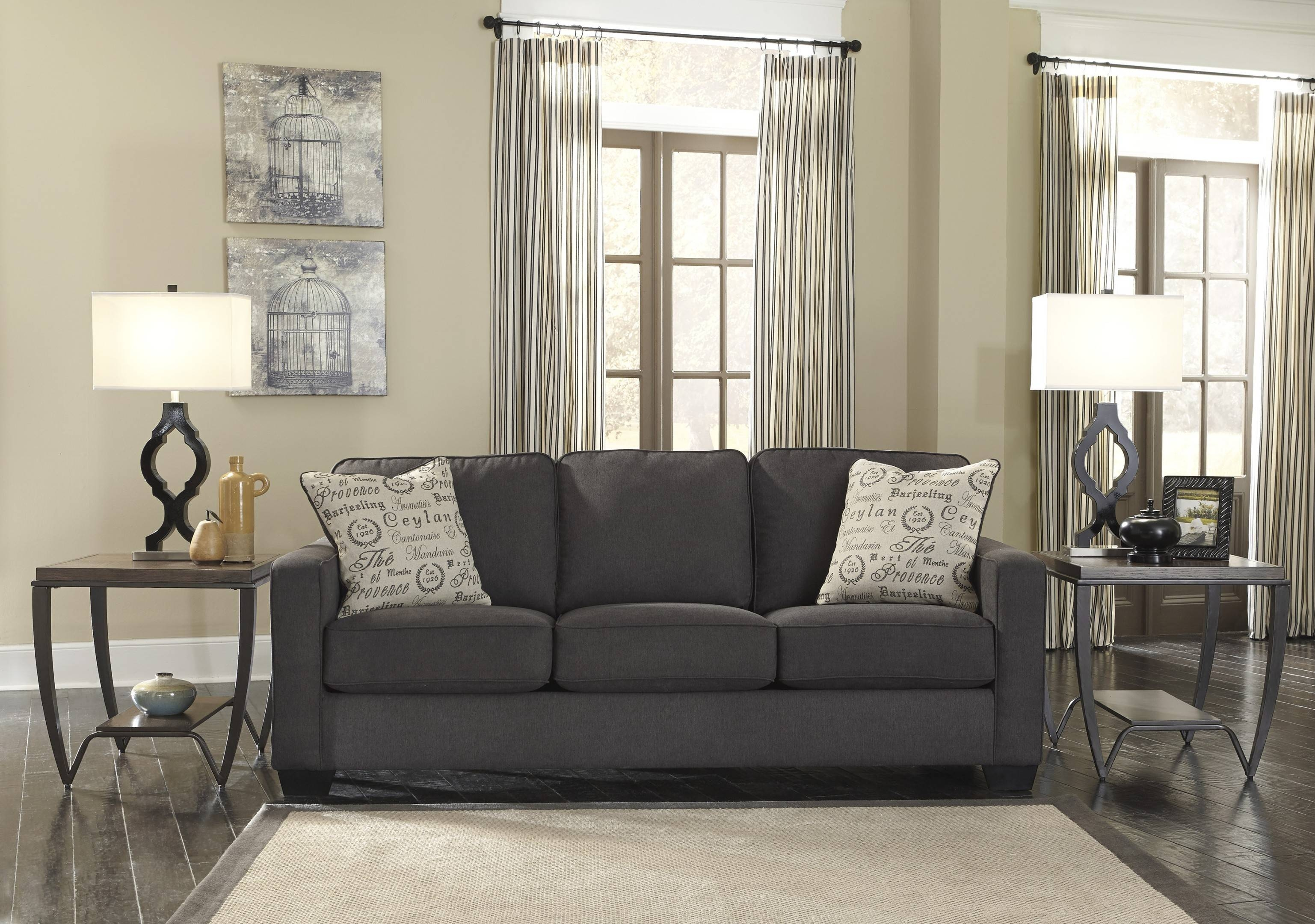 Living Room Grey Sofa Ideas With End Table Plus Lamp And Cream pertaining to Living Room With Grey Sofas (Image 13 of 15)