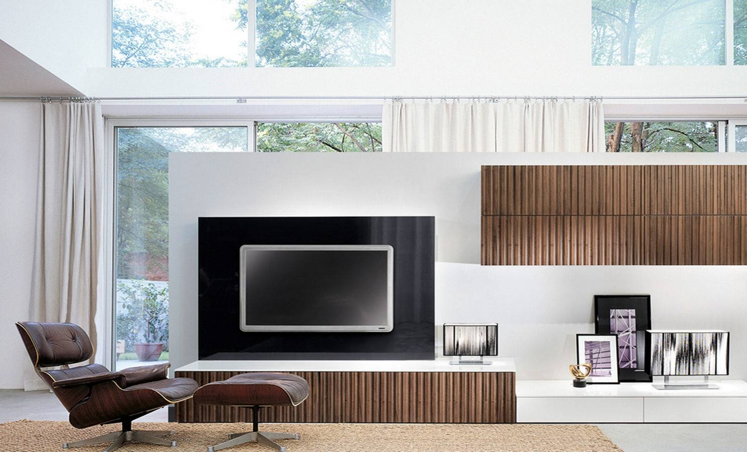 Living Room : Modern Wall Units With Three Levels Complete With Tv for On The Wall Tv Units (Image 5 of 15)