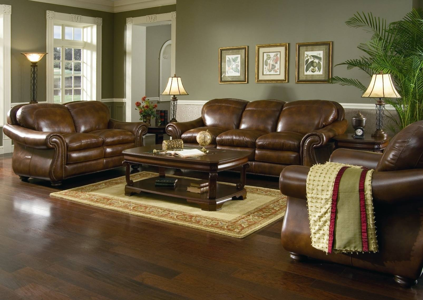 Living Room Paint With Brown Leather Furniture | Centerfieldbar within Living Room With Brown Sofas (Image 14 of 15)