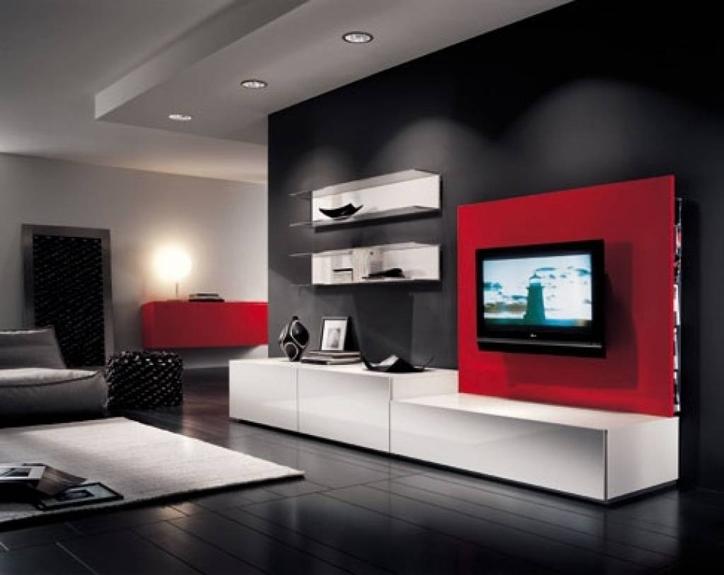 Living Room : Small Tv Room Furniture Ideas With Black Wood Tv Pertaining To Black And Red Tv Stands (View 13 of 15)