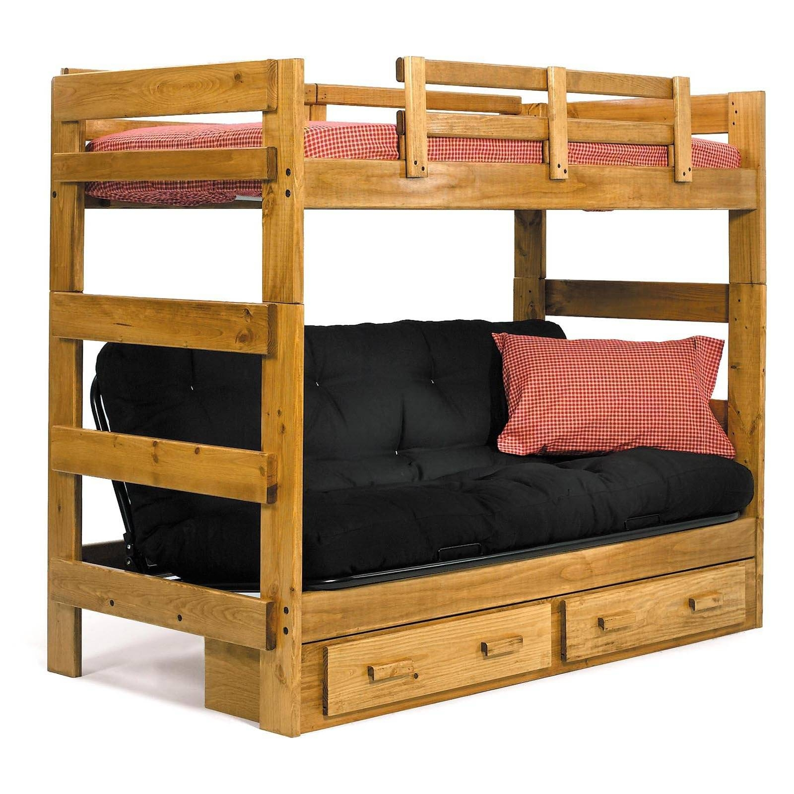 Loft Bunk Bed With Futon And Drawers Underneath - Decofurnish with regard to Bunk Bed With Sofas Underneath (Image 12 of 15)