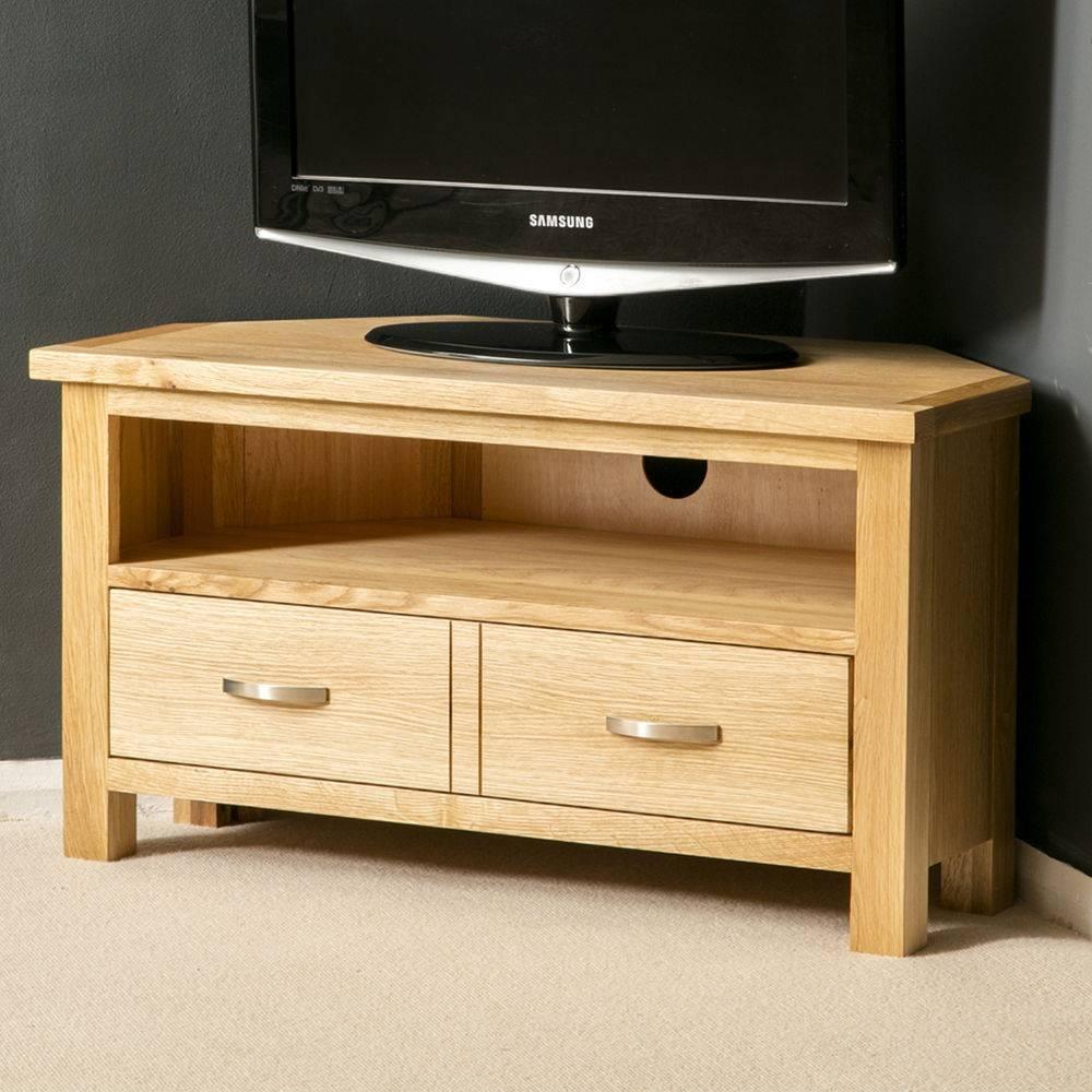 London Oak Corner Tv Stand / Plasma Tv Cabinet / Solid Wood Tv in Light Oak Corner Tv Cabinets (Image 5 of 15)