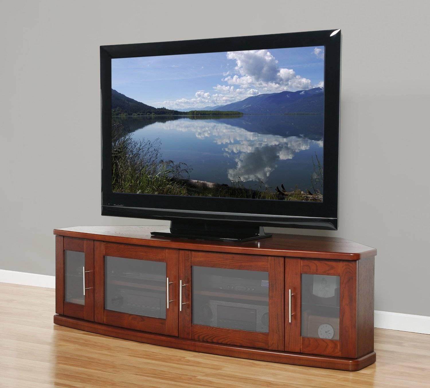 Long Brown Wooden Tv Stand With Four Storage Having Frosted Glass Throughout Wooden Tv Stands With Glass Doors (View 9 of 15)