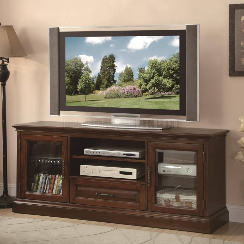Long Shabby Brown Wooden Tv Stand With Two Shelves Also Drawer Pertaining To Wooden Tv Stands With Glass Doors (View 6 of 15)