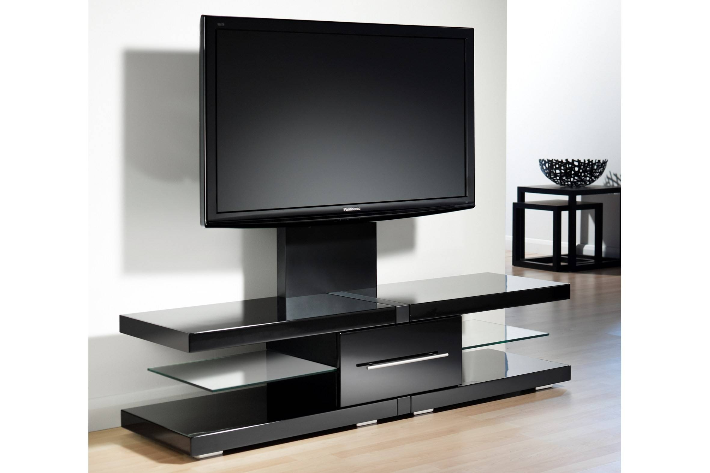 Long Short Dark Brown Tv Stand With Glass Doors And Audio Speaker with Dark Tv Stands (Image 8 of 15)