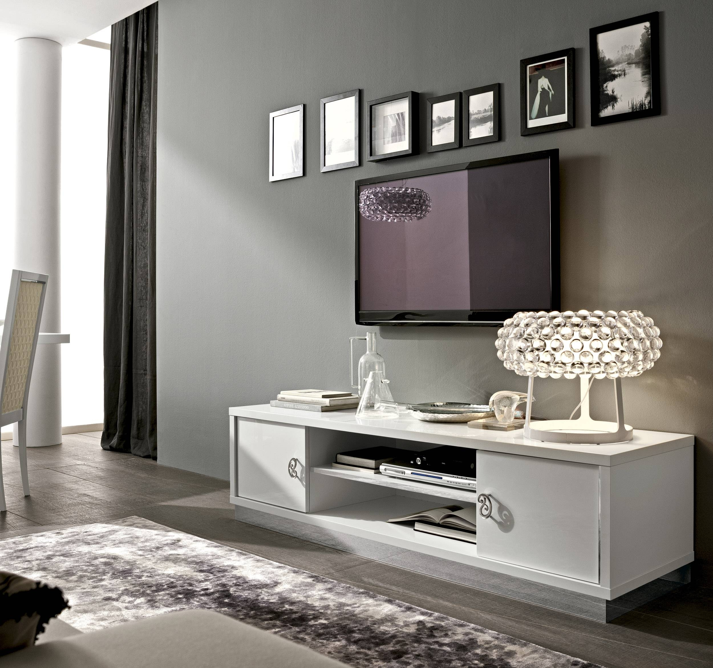 Long White Contemporary Tv Stand Base In Lacquers Washington Dc pertaining to Extra Long Tv Stands (Image 10 of 15)