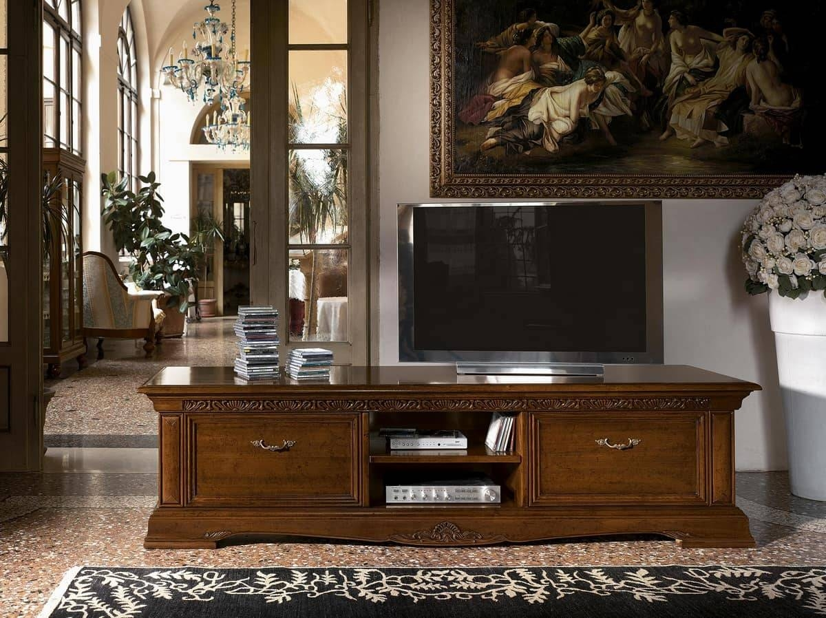 Long Wooden Tv Stand, For Luxury Classic Living Rooms | Idfdesign in Luxury Tv Stands (Image 7 of 15)
