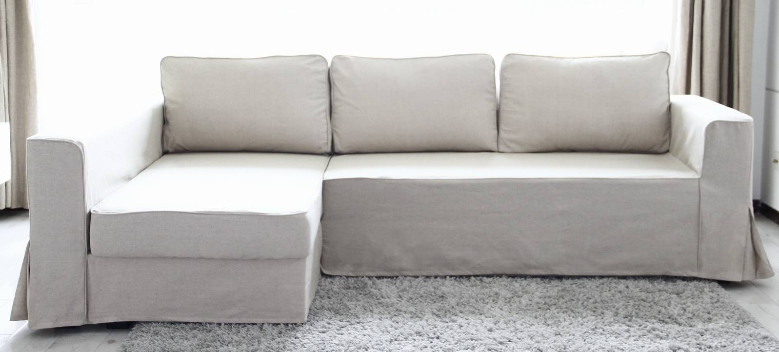 Loose Fit Linen Manstad Sofa Slipcovers Now Available in Slipcovered Chaises (Image 7 of 15)