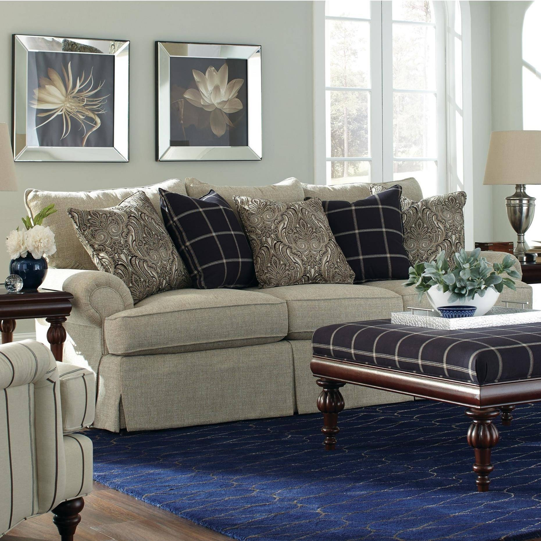 Loose Pillow Back Sofa With Rolled Arms And Skirtcraftmaster in Loose Pillow Back Sofas (Image 5 of 15)