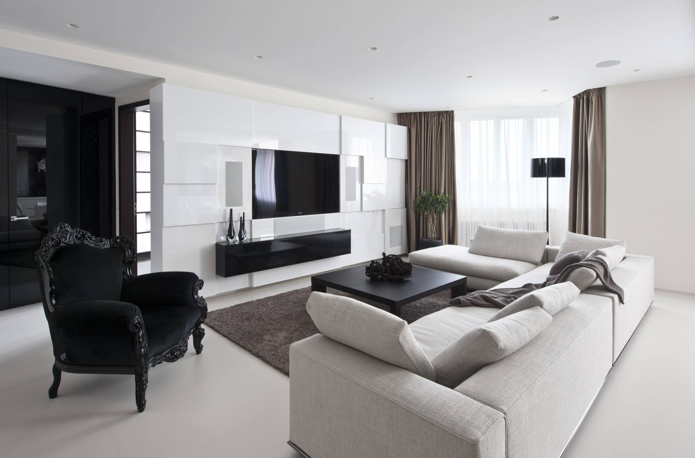 Lovely White Color Accent On Large Wardrobe With Nice Black in Sofas Black and White Colors (Image 10 of 15)
