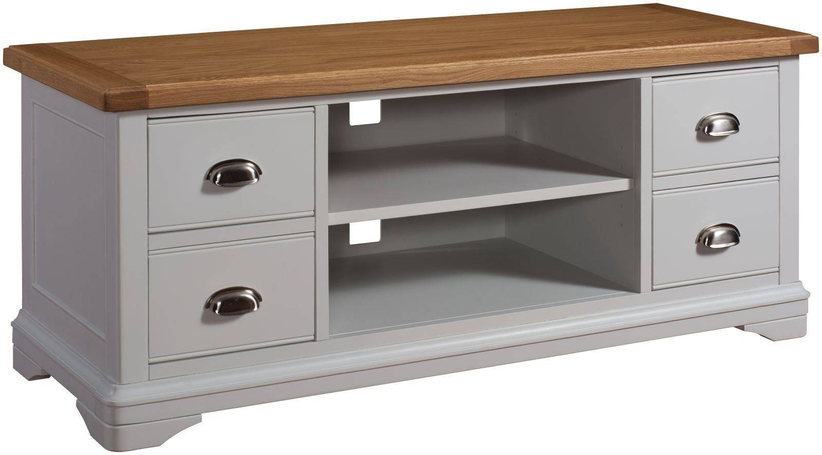 Lowa Painted Grey & Oak Country Style Tv Cabinet throughout Country Style Tv Cabinets (Image 9 of 15)