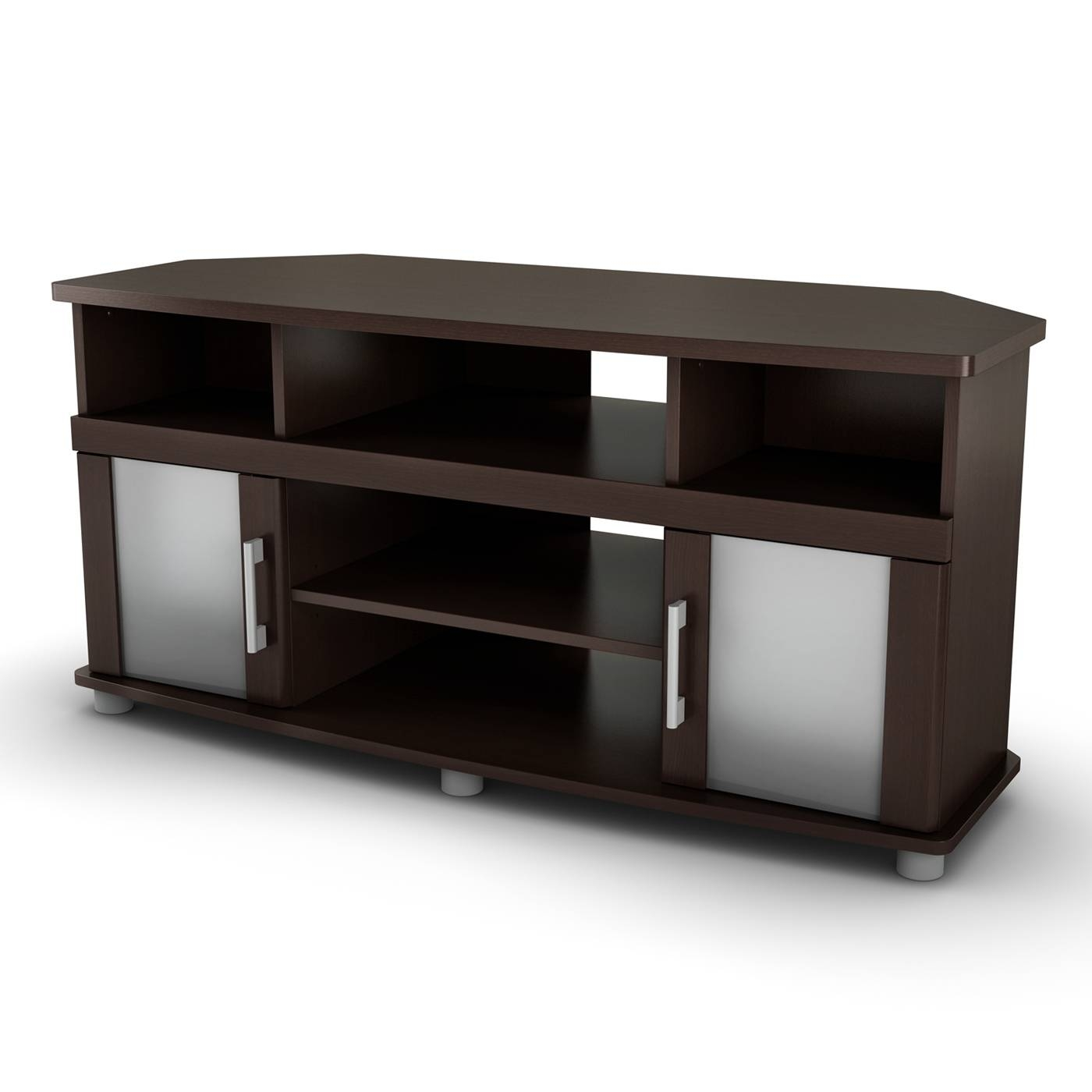 Lowes Tv Stands With Elegant Brown Corner Design With Blur Glass inside Corner Tv Unit With Glass Doors (Image 8 of 15)