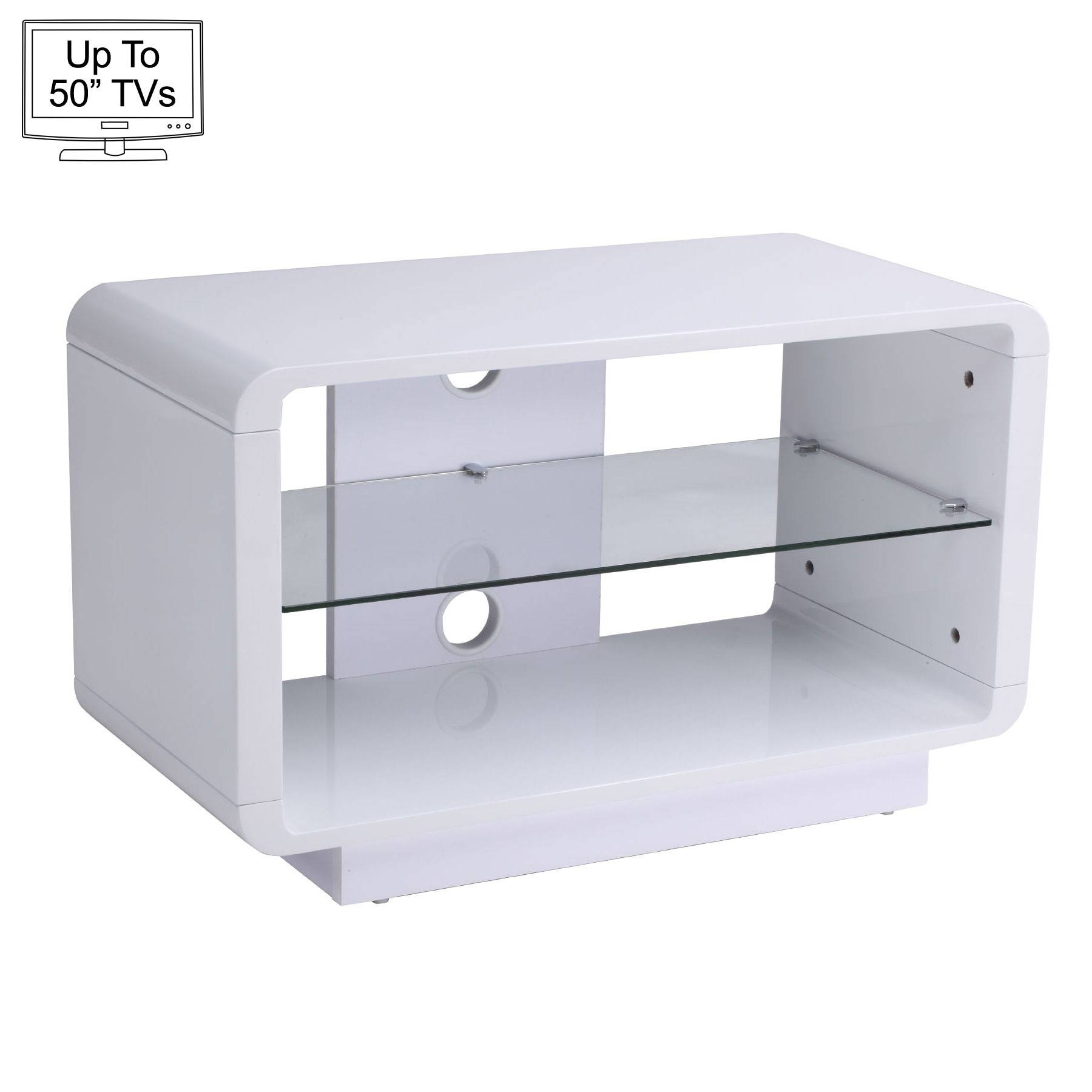 """Luna 80Cm White Tv Stand For Up To 50"""" Tvs throughout White Tv Cabinets (Image 6 of 15)"""
