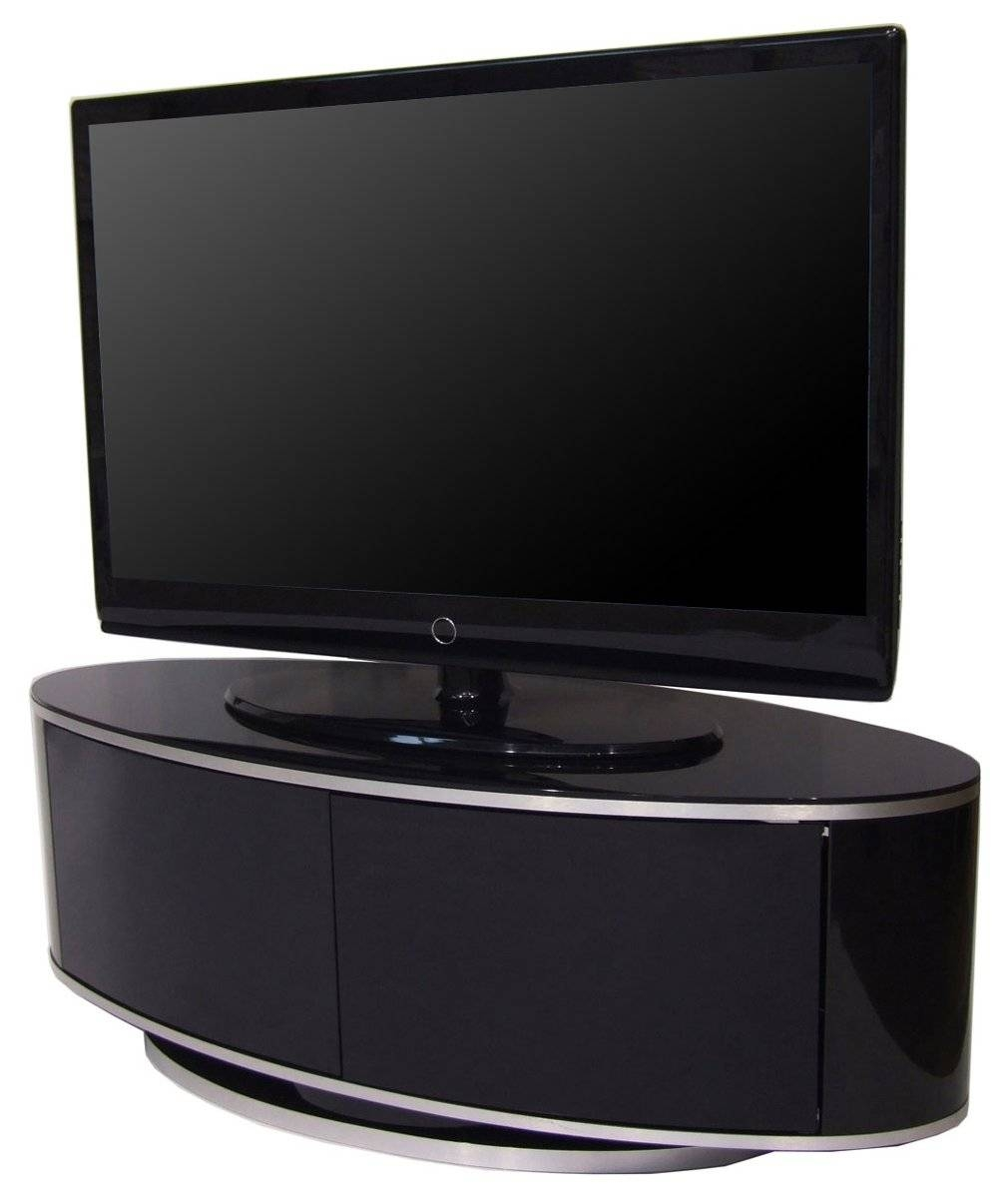 Luna High Gloss Black Oval Tv Cabinet with regard to Black Corner Tv Cabinets (Image 9 of 15)
