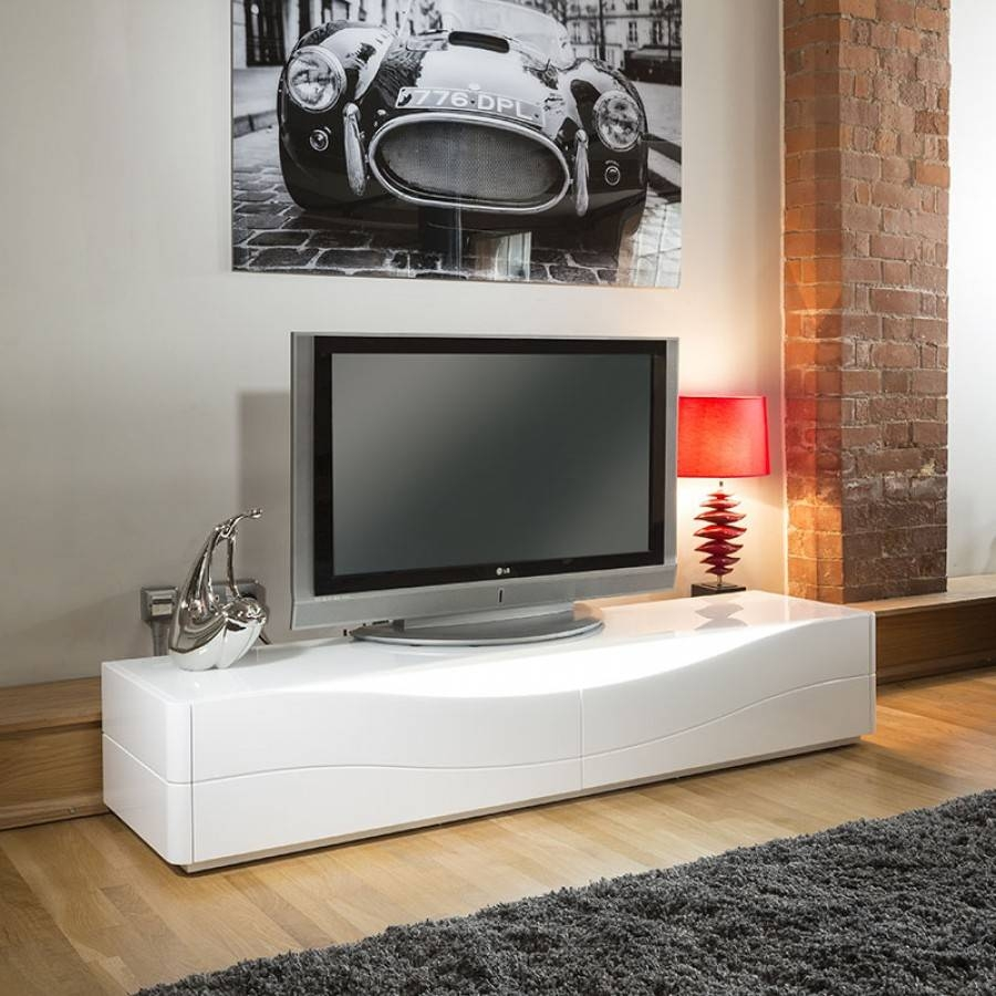 Luxury Modern Tv Stand / Cabinet / Unit White Gloss Led Lighting with Modern White Gloss Tv Stands (Image 6 of 15)