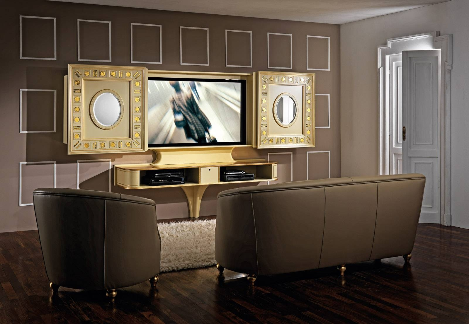 Luxury Tv Stand With Doors Producedvismara Design In Italy In Gold Tv Cabinets (View 14 of 15)