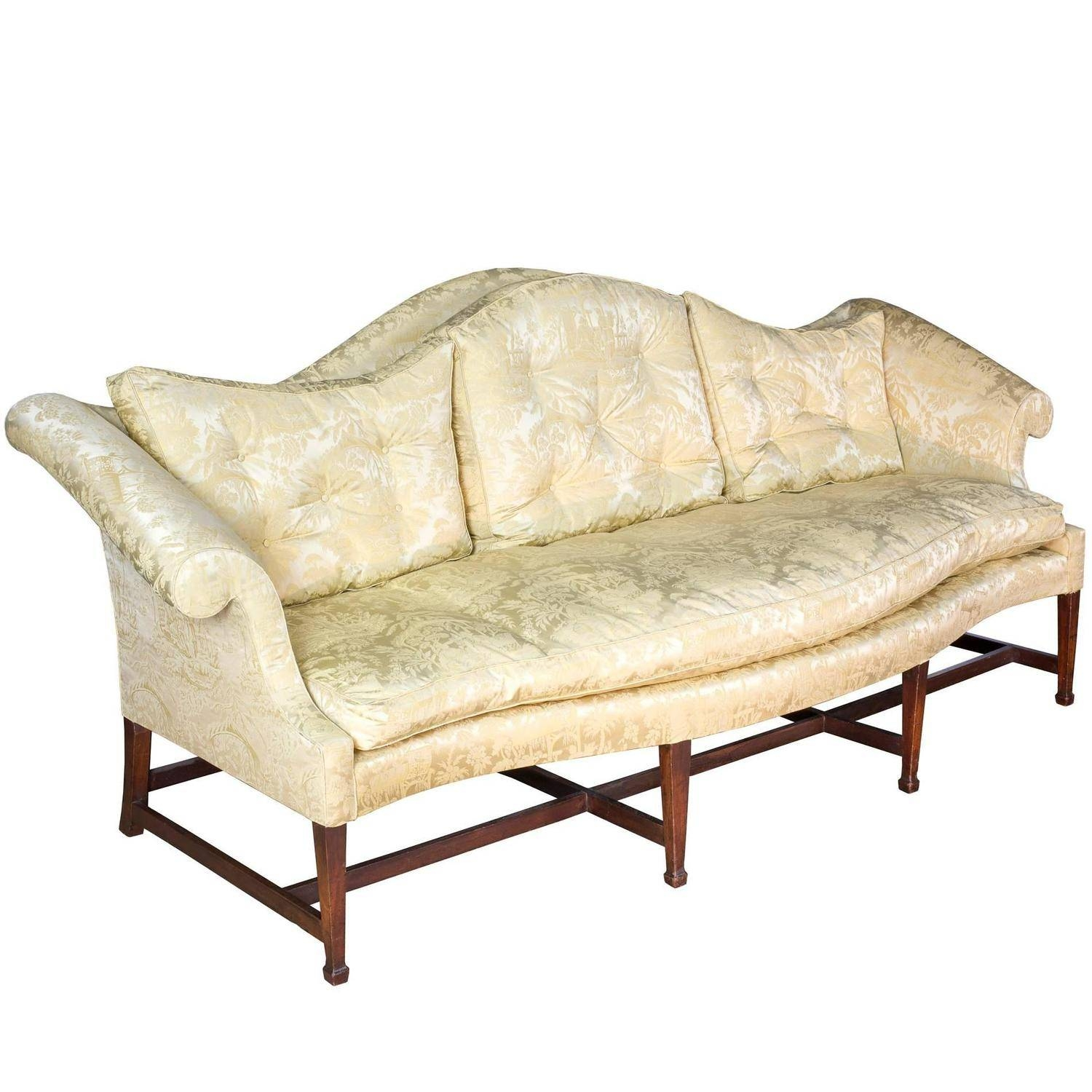Mahogany Hepplewhite Camelback Sofa With Serpentine Back And Seat with Chippendale Camelback Sofas (Image 15 of 15)