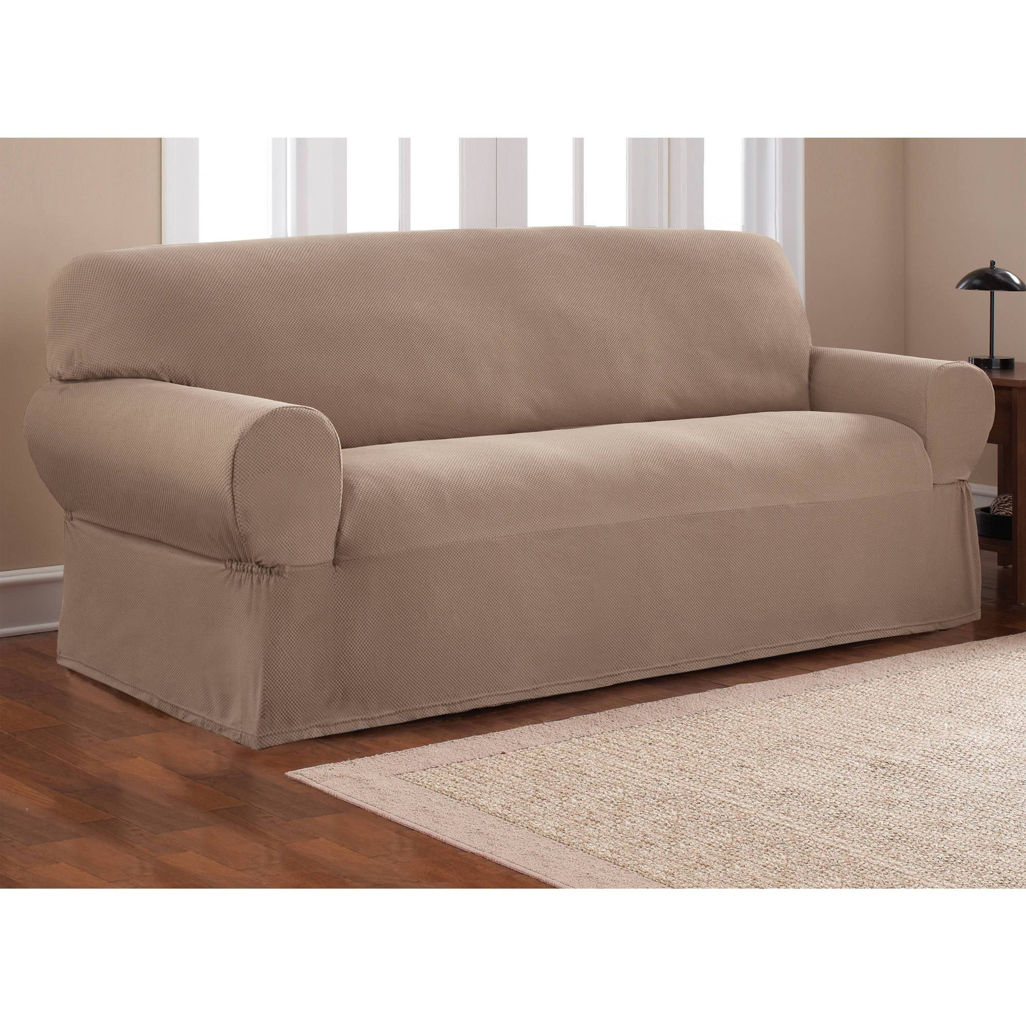 Mainstays 1-Piece Stretch Fabric Sofa Slipcover - Walmart in 3 Piece Sofa Covers (Image 11 of 15)