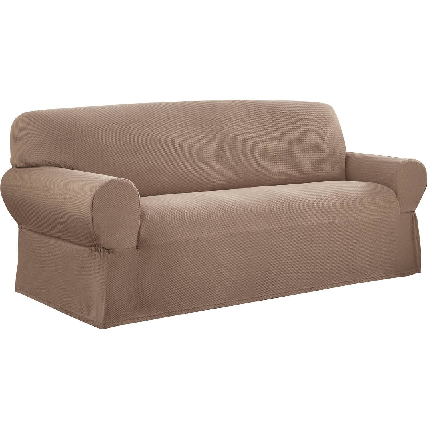 Mainstays 1-Piece Stretch Fabric Sofa Slipcover - Walmart in Suede Slipcovers for Sofas (Image 6 of 15)