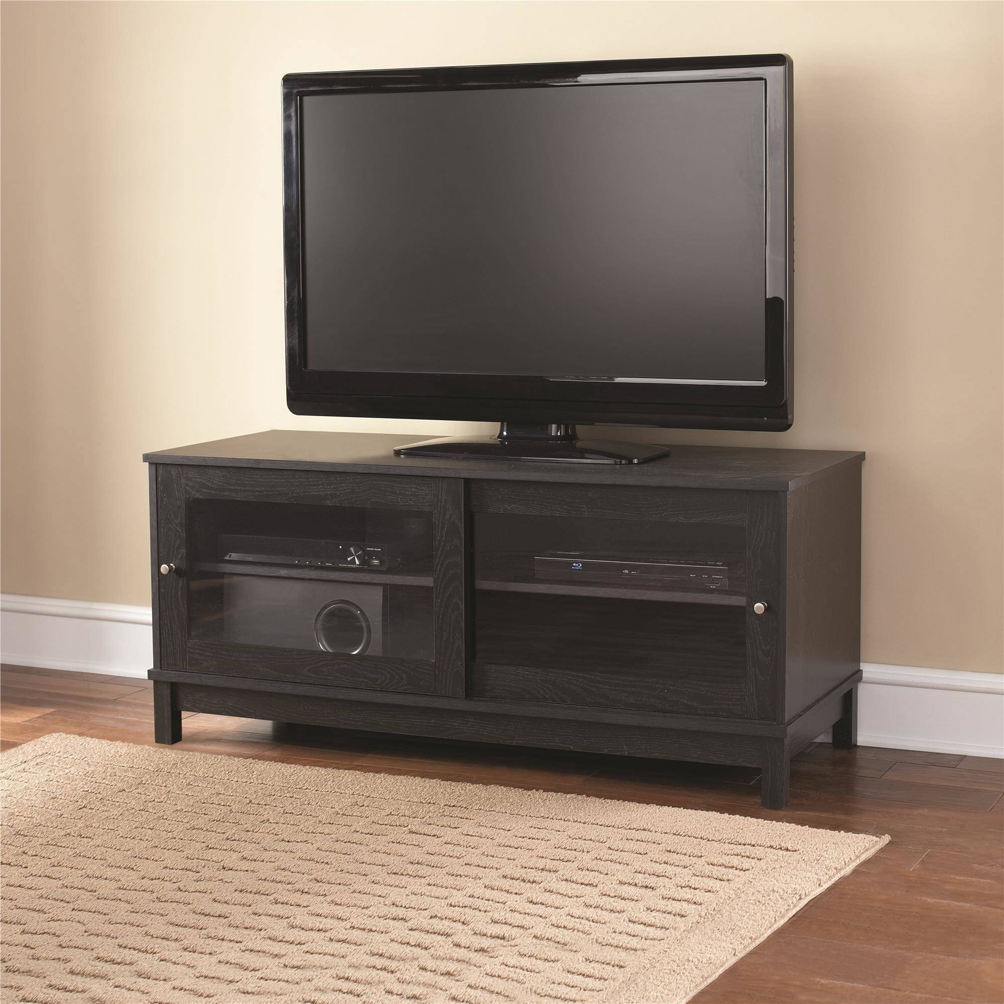 """Mainstays 55"""" Tv Stand With Sliding Glass Doors, Black Ebony Ash Intended For Wooden Tv Stands For 55 Inch Flat Screen (View 5 of 15)"""